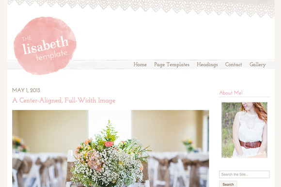 Lovely WordPress blog theme from Angie Makes Websites at Creative Market