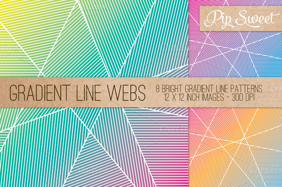 Gradient Line Webs 8 Pattern Set