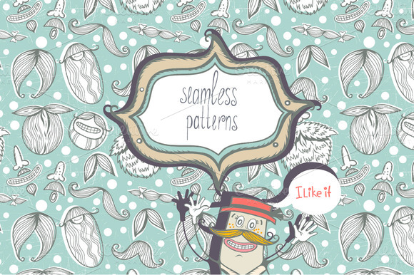 Free seamless pattern with cartoon mustaches from Creative Market