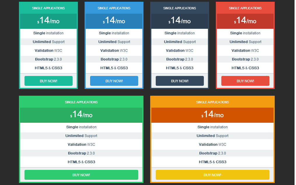 pricing tables bootstrap responsive website templates on