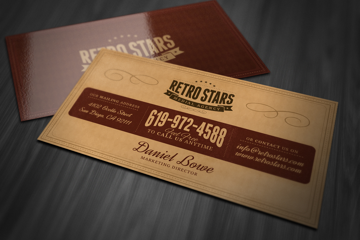 Vintage or retro business card business card templates for Retro business card template