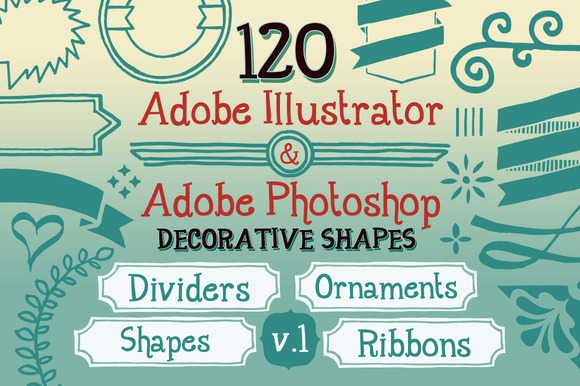 120 Handwritten Decorative Shapes 01 ~ Objects  Free Download