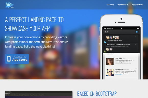 BIG Thing – Responsive Landing Page ~ Bootstrap Themes  Free Download
