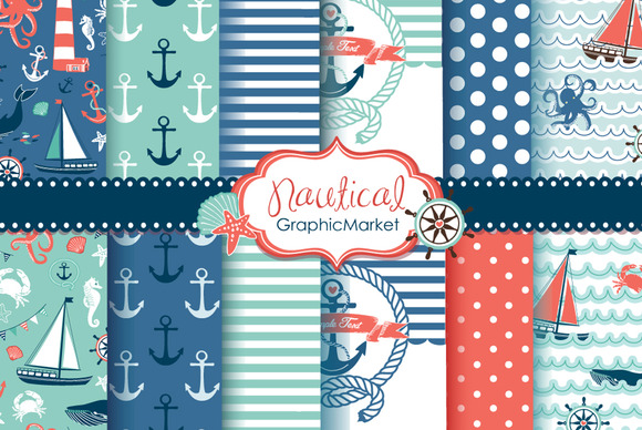 10 nautical digital papers   2 cards