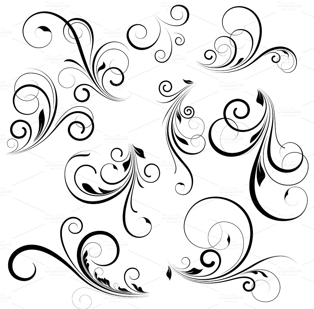 vector swirls illustrations on creative market. Black Bedroom Furniture Sets. Home Design Ideas