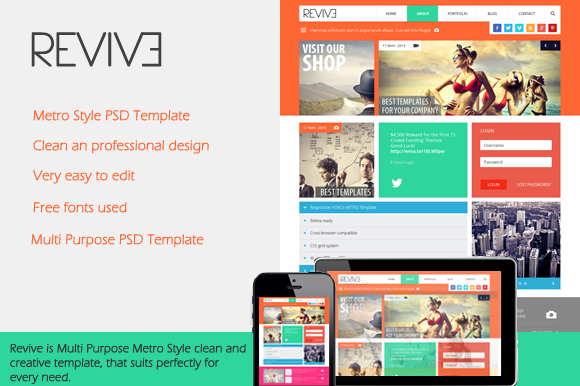 Revive – Metro Style PSD Template ~ Website Templates  Free Download