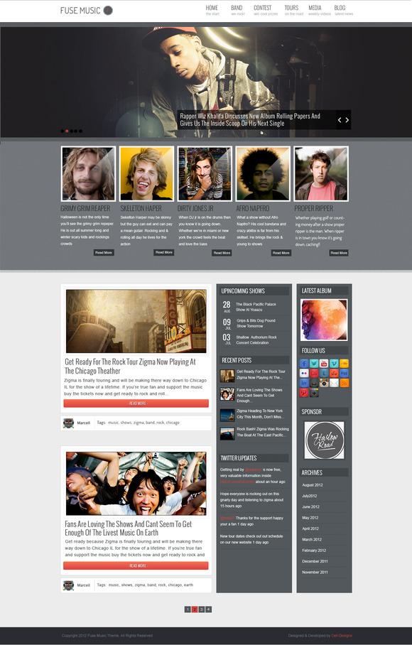 Fuse Music WordPress Theme ~ WordPress Themes  Free Download