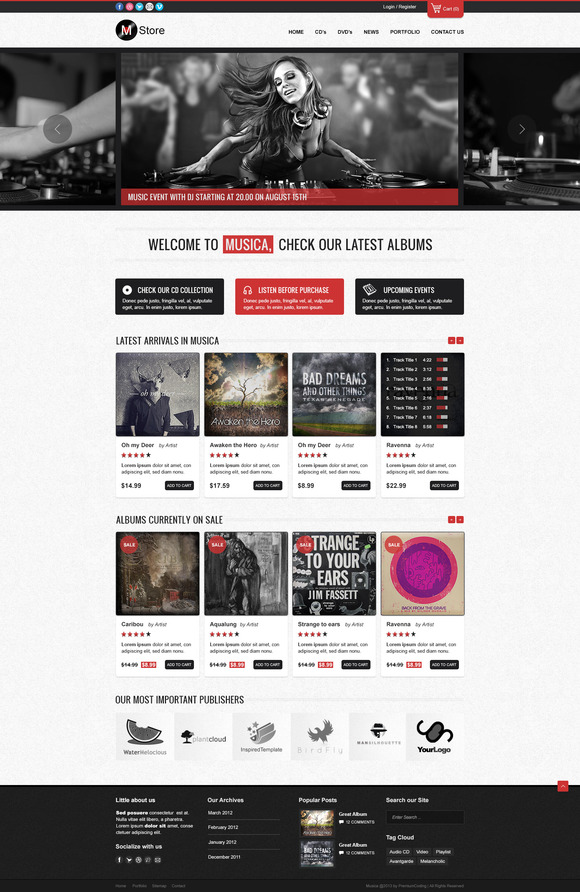 Musica – Ecommerce Website Template ~ Website Templates  Free Download