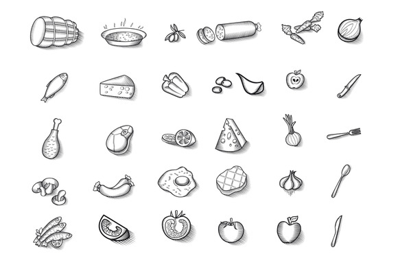 Vintage Food Illustrations Vector
