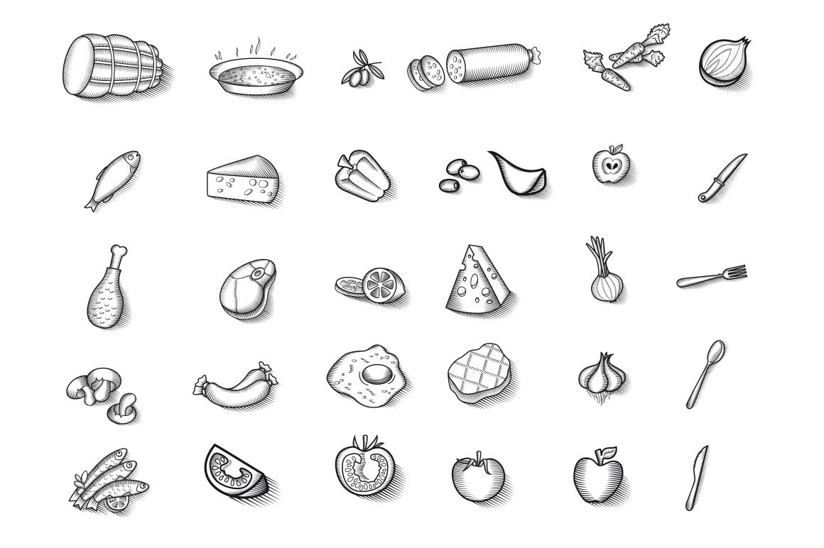 Vintage Food Illustrations Vector ~ Illustrations on