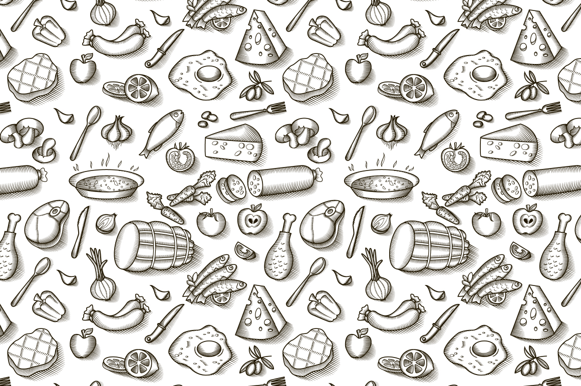 Vintage Food Patterns Patterns On Creative Market