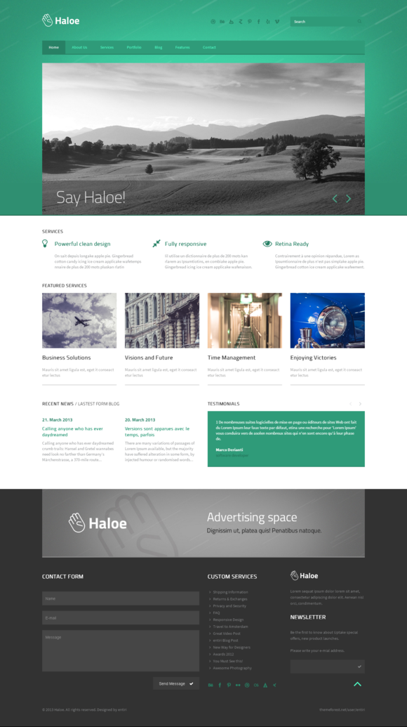 Haloe – Responsive HTML Template ~ Bootstrap Themes  Free Download