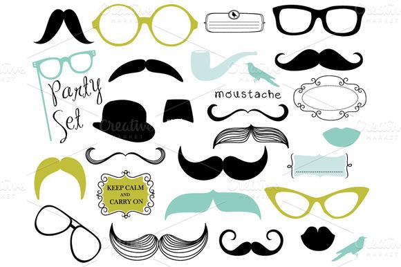 Mustache and Lips Clip Art