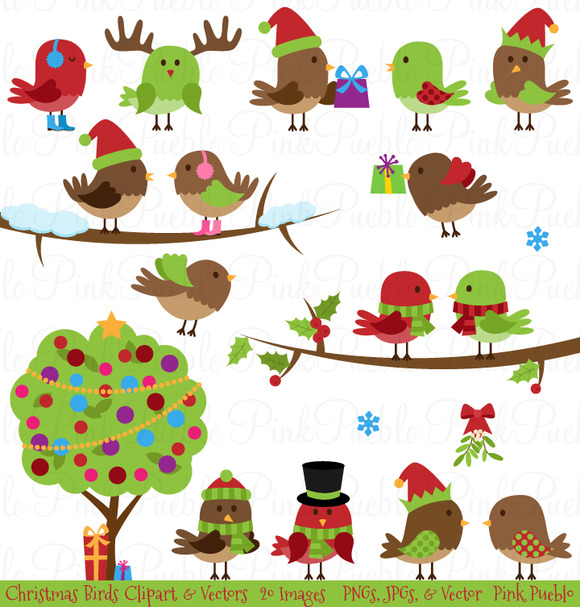 Christmas Birds Clipart Vectors