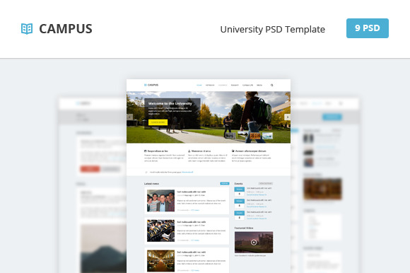 Campus – University PSD Template ~ Website Templates  Free Download
