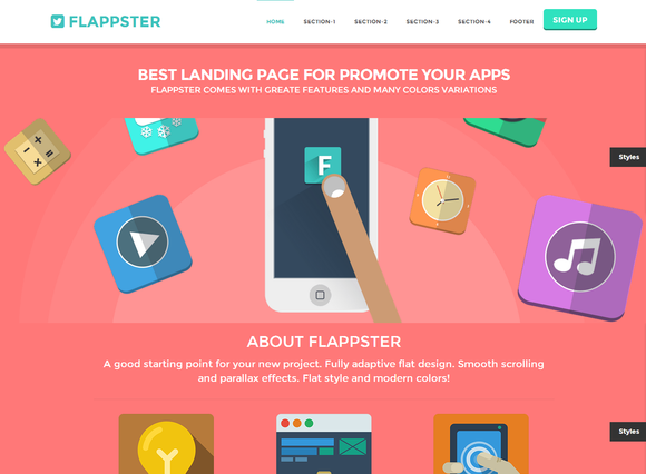 FLAPPSTER Bootstrap flat landing ~ Website Templates  Free Download