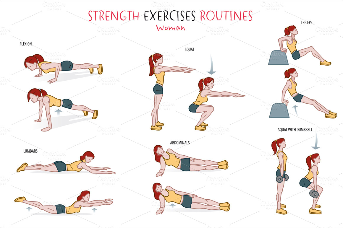 Strength Exercise Routine ~ Illustrations on Creative Market