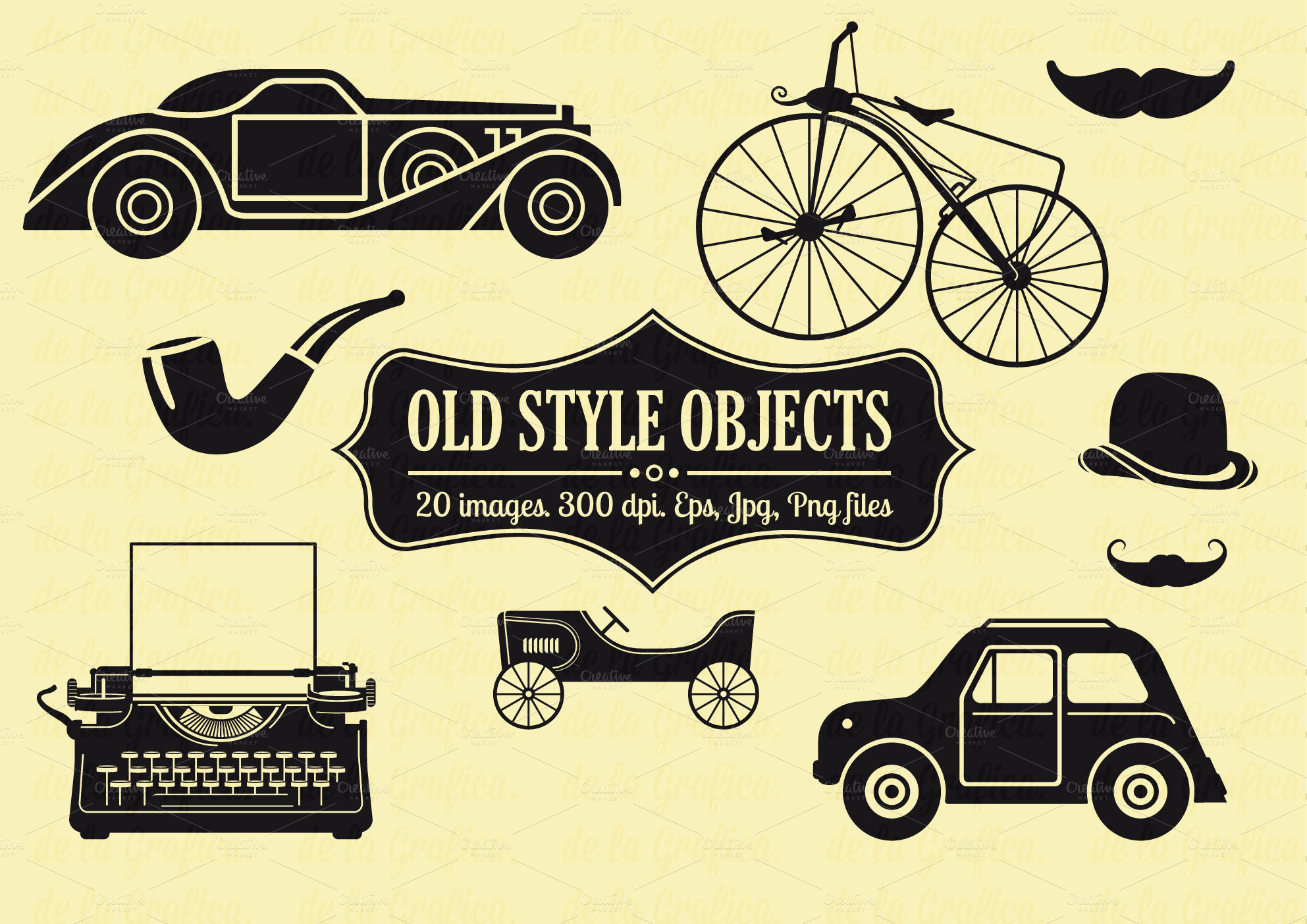 20 old style objects vector set objects on creative market for Old objects