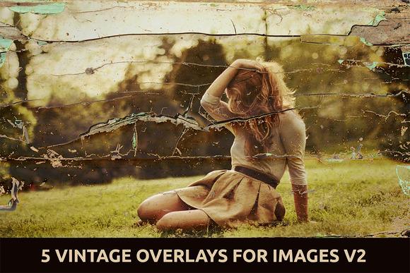 5 Vintage Overlays for Images V.2 - Textures