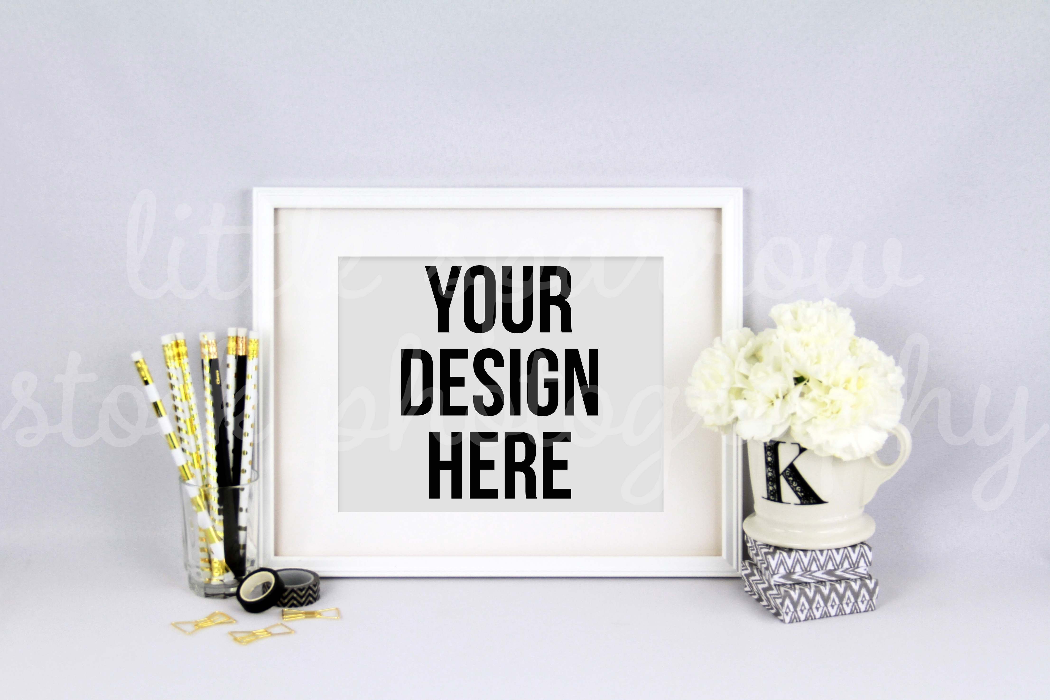 Styled White Picture Frame Mock Up Product Mockups On