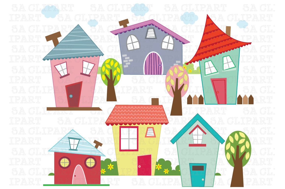 Little houses digital clip art illustrations on creative - Graphic design from home ...