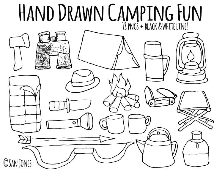 Vector Hand drawn Camping ~ Illustrations on Creative Market