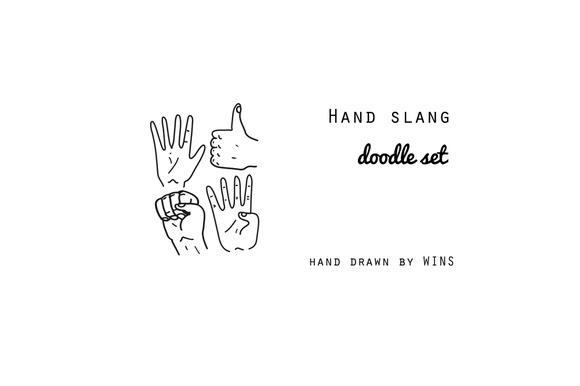 Hand slang. Gestures. Doodle set - Illustrations