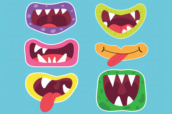 Cute Monster Mouths Clipart ~ Illustrations on Creative Market