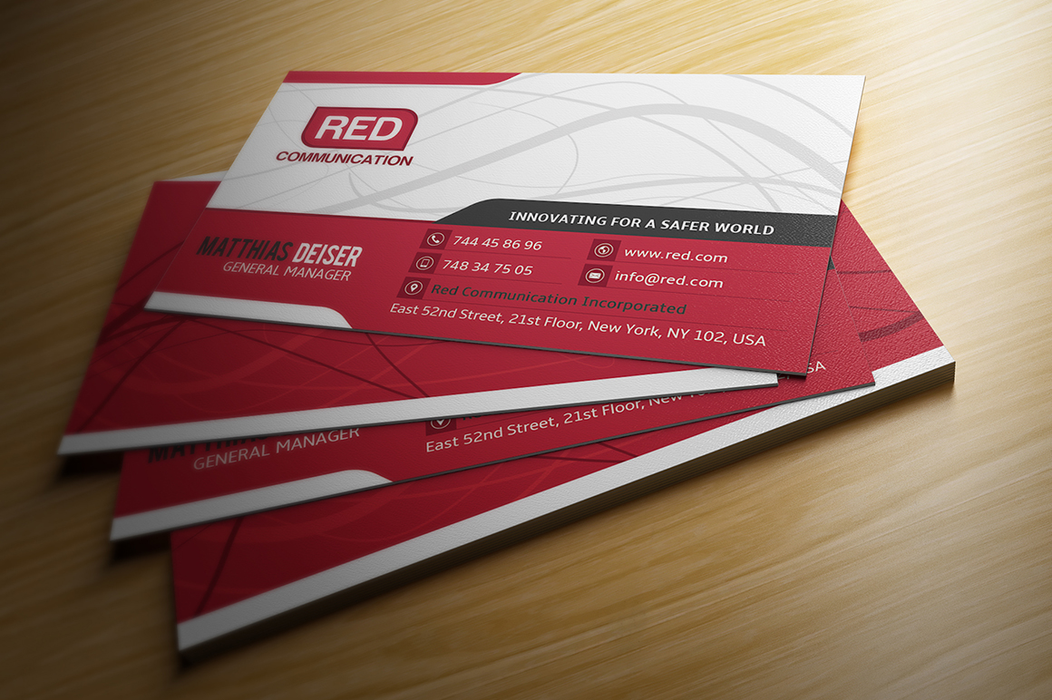 red business card business card templates on creative market