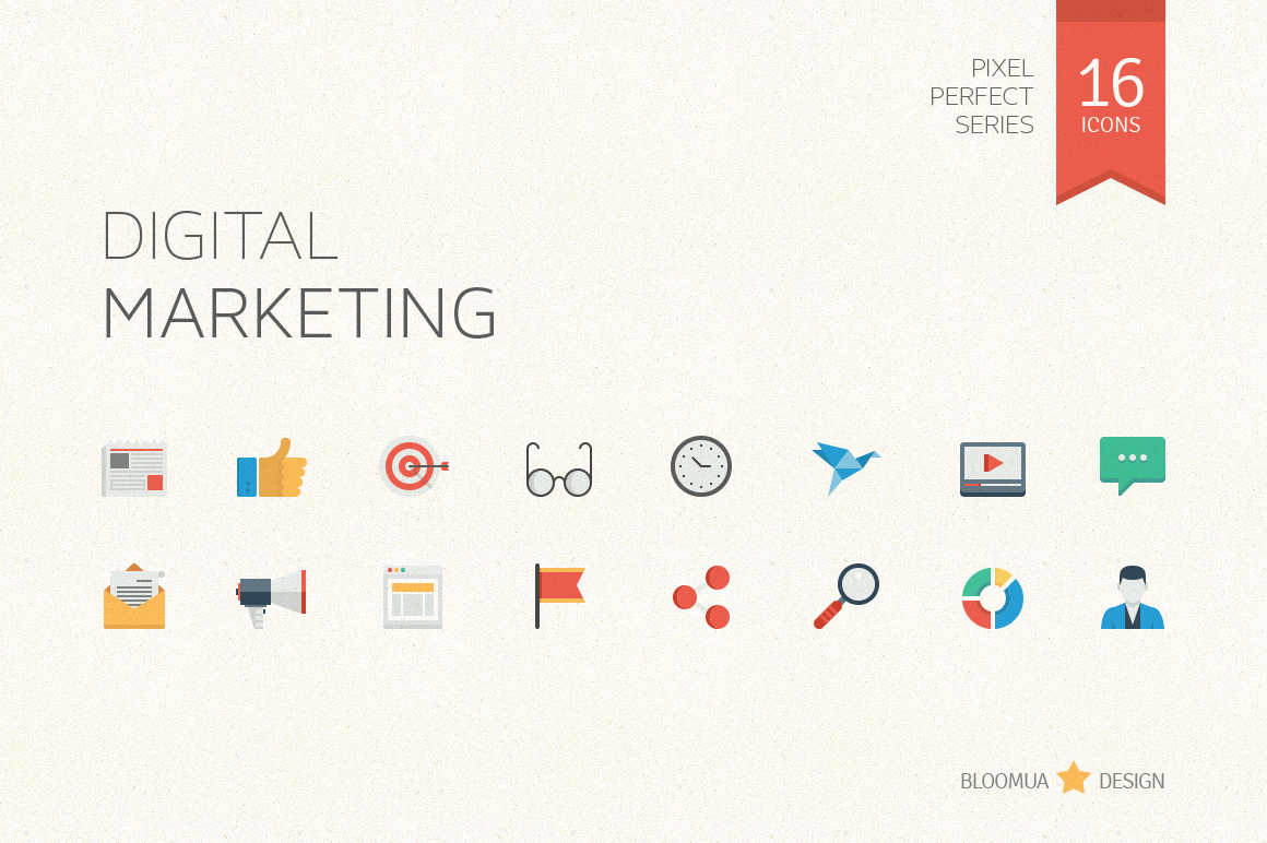 Digital Marketing Flat Icons Icons On Creative Market