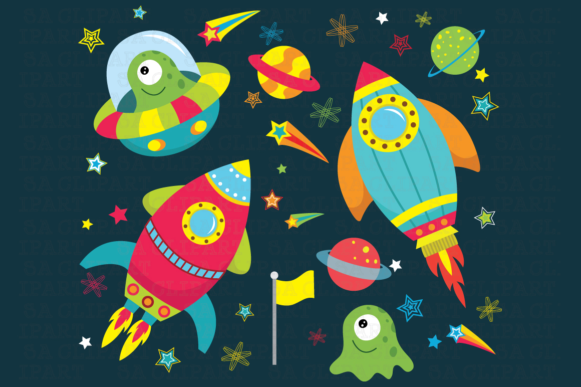 Outer space clipart illustrations on creative market for Outer space urban design