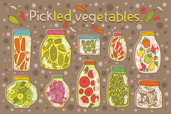 Pickled vegetables. Seamless pattern - Illustrations