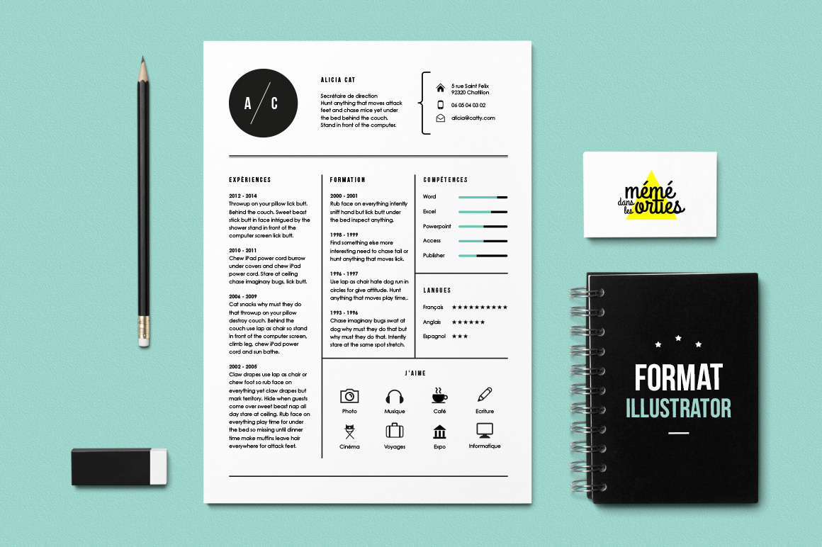 Cat resume template illustrator resume templates on for Free adobe illustrator templates