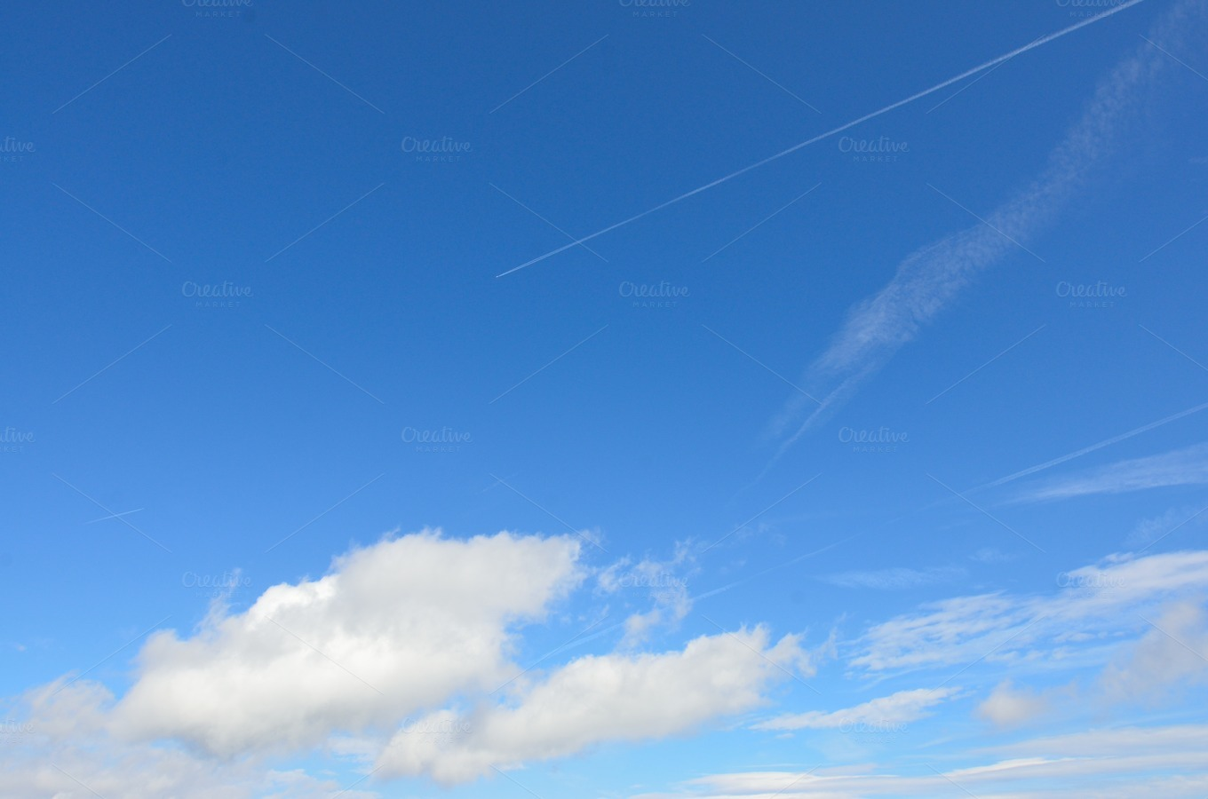 Clear Sky and Airplane with Trails ~ Transportation Photos ...
