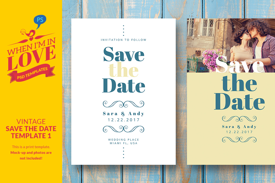 Vintage save the date template 1 invitation templates on for Free vintage save the date templates