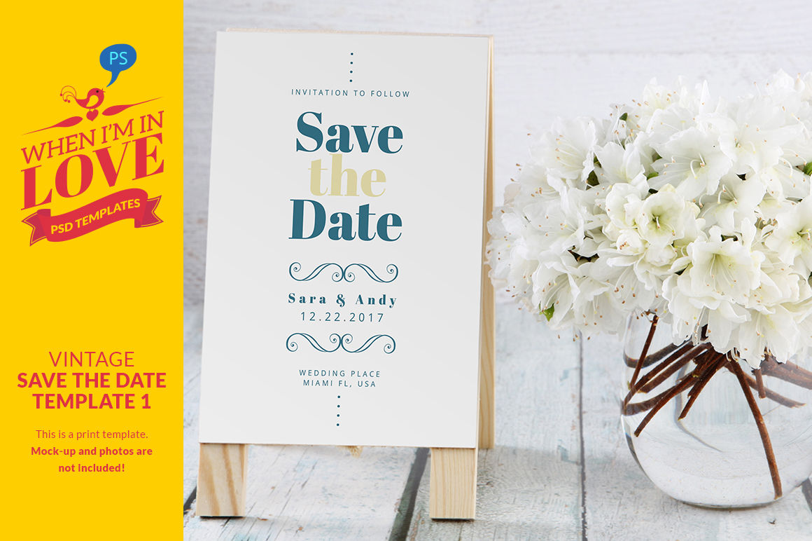 Vintage save the date template 1 invitation templates on for Vintage save the date templates free