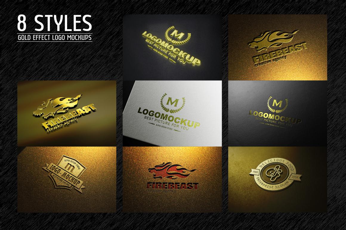 8 styles gold effect logo mock