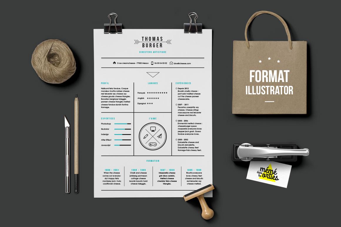 Burger Resume template Illustrator Resume Templates on Creative Market
