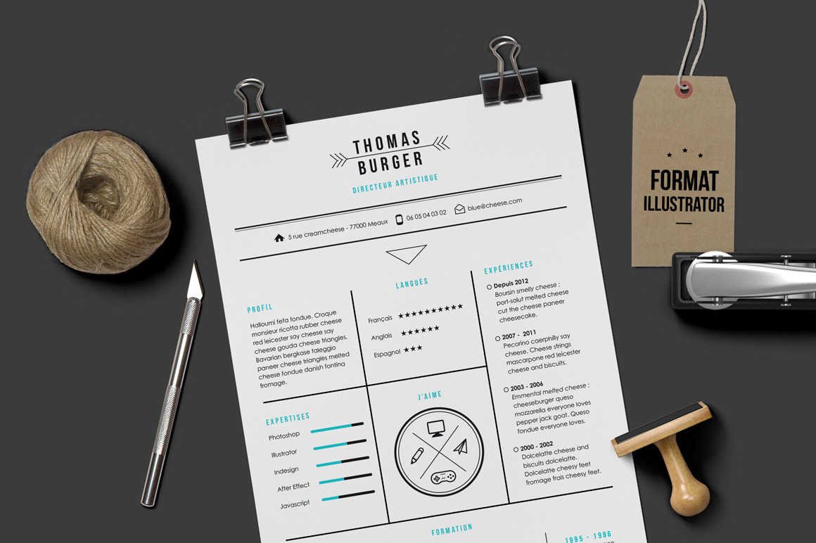 CV Resume template Illustrator Resume Templates on Creative Market