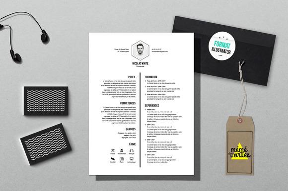 white resume template illustrator resume templates on creative market. Black Bedroom Furniture Sets. Home Design Ideas