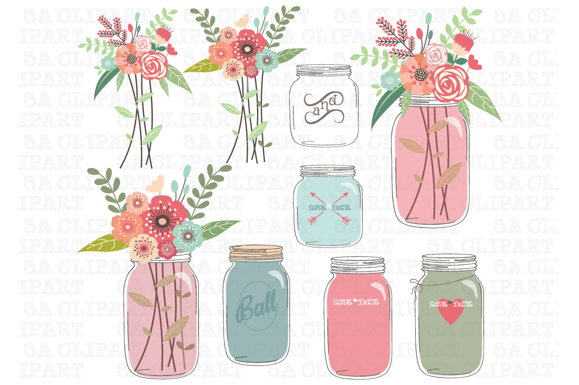 Mason jar with flowers illustration