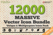 12000 Massive Vector Icons -Graphicriver中文最全的素材分享平台