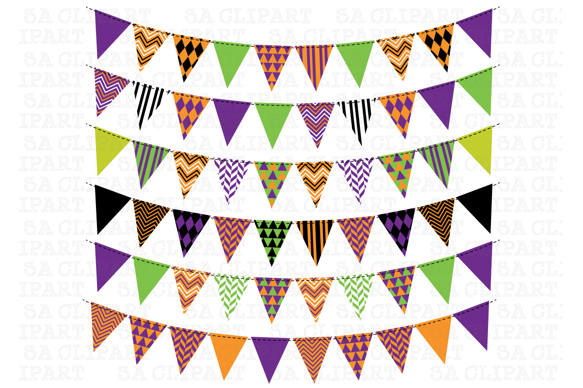 Halloween Bunting Banner Clipart ~ Illustrations on ...