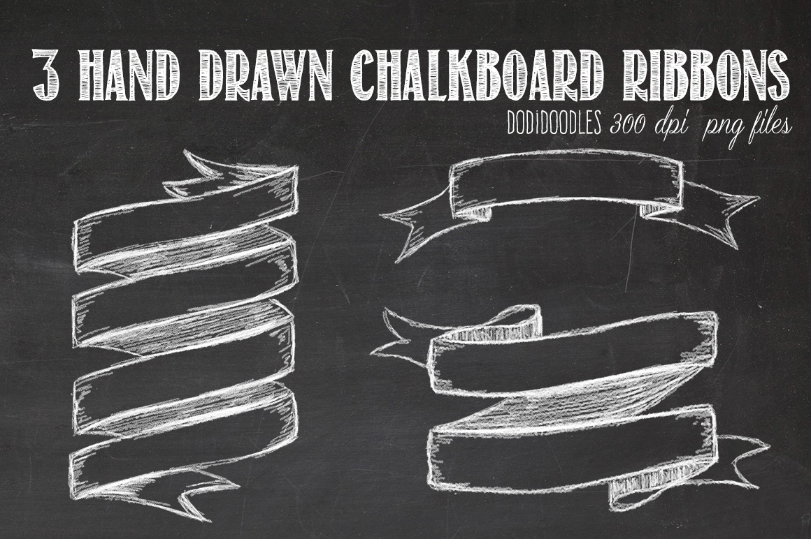 Hand Drawn Chalkboard Ribbons Graphics On Creative Market