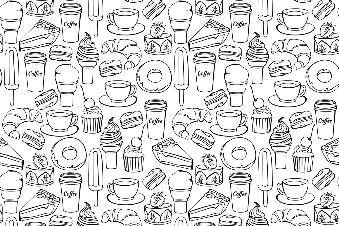 Vector set of decorative sweet food illustrations on - Plaque decorative cuisine ...