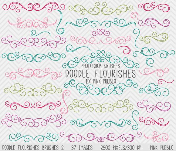 Doodle Flourishes Photoshop Brushes