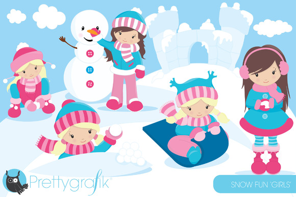 snow girls clipart commercial use illustrations on