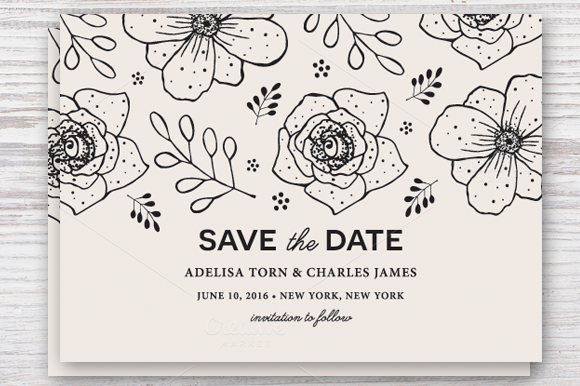 Save the Date Template EPS & JPG ~ Invitation Templates on Creative Market