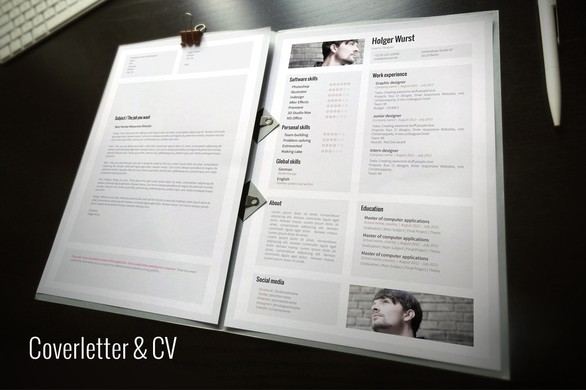 cv cover letter portfolio template resume templates on creative market. Black Bedroom Furniture Sets. Home Design Ideas