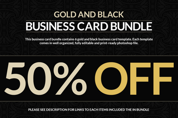 6 gold and black business cards business card templates on creative market. Black Bedroom Furniture Sets. Home Design Ideas